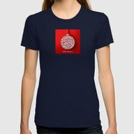 Happy Holidays - Christm… Womens Fitted Tee Navy LARGE