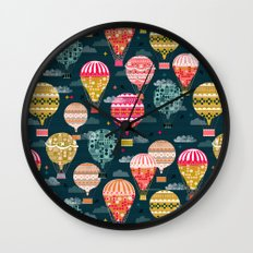 Hot Air Balloons - Retro, Vintage-inspired Print and Pattern by Andrea Lauren Wall Clock