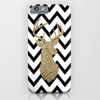 Glitter Deer Silhouette with Chevron iPhone 6 Slim Case