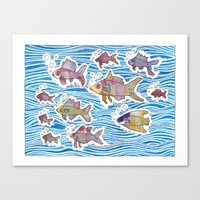Colorful Swimming Canvas Print
