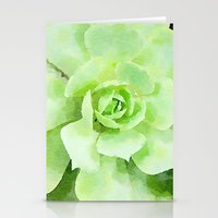 Lime Succulent Plant Stationery Cards