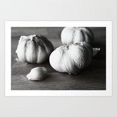 Garlic Black and White Food Photography Art Print