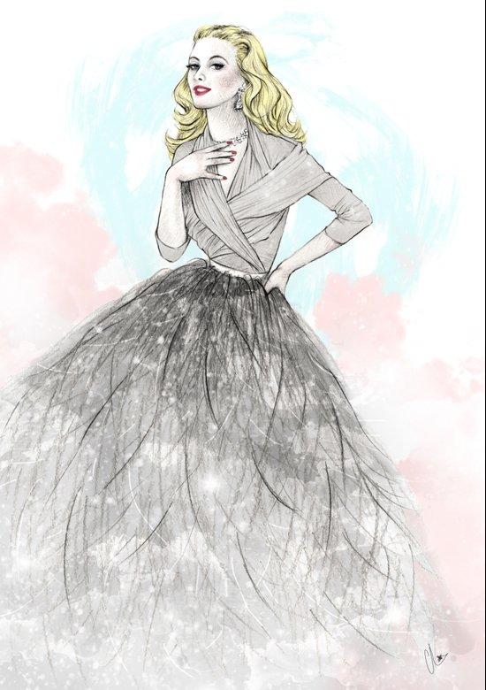 Ostrich Fashion Illustration Canvas Print