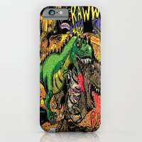 iPhone Cases featuring Space Chick & Nympho: Vampire Warrior Party Girl Comix #1- Tyrano the Dinosaur-God  in Comic Page  by Tex Watt