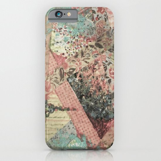 PIECES OF ME - Lovely Muted Pink Black White Floral Stripe Abstract Acrylic Fabric Collage Painting iPhone & iPod Case
