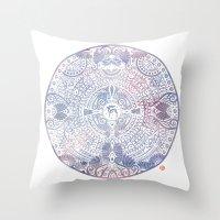 Deer Mandala (white) Throw Pillow