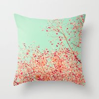 Little dots of red Throw Pillow