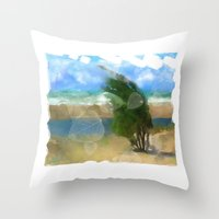 Windy Day/ Lake Huron Throw Pillow