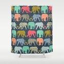 baby elephants and flamingos Shower Curtain