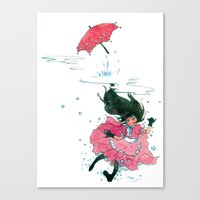 Playing in Puddles Canvas Print