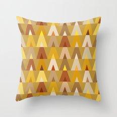 Geometric Triangles | mustard yellow taupe Throw Pillow
