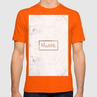 Modern hustle typography rose gold white marble Mens Fitted Tee Orange SMALL