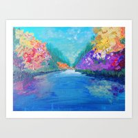 AROUND THE RIVERBEND - Autumn River Modern Nature Pochahontas Abstract Landscape Acrylic Painting Art Print