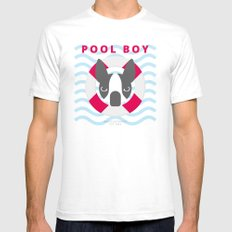 Boston Terrier: Pool boy. Mens Fitted Tee White SMALL
