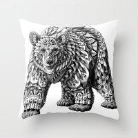 Ornate Bear Throw Pillow