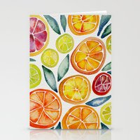 watercolor Stationery Cards featuring Sliced Citrus Watercolor by Cat Coquillette