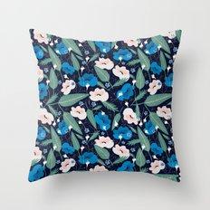Blue Botanical Throw Pillow