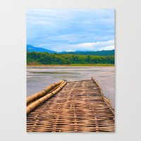 Floating Bamboo jetty Mekong River Canvas Print