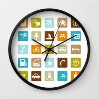 Travel Icons Wall Clock