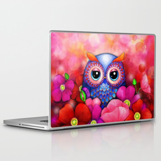 Owl in Poppy Field Laptop & iPad Skin