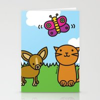 Butterfly, Cat And Dog Stationery Cards