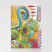 colourful doodle Stationery Cards