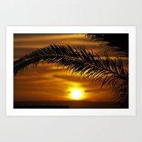 Palm sunset Art Print