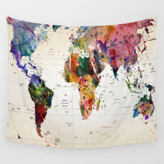map Wall Tapestry by Mark Ashkenazi | Society6