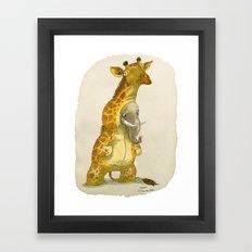 Elephant in a giraffe costume Framed Art Print