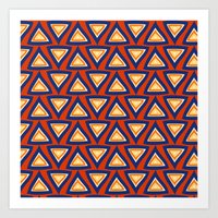 Blue Orange Triangles Art Print