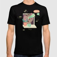Hello Cat Mens Fitted Tee Black SMALL