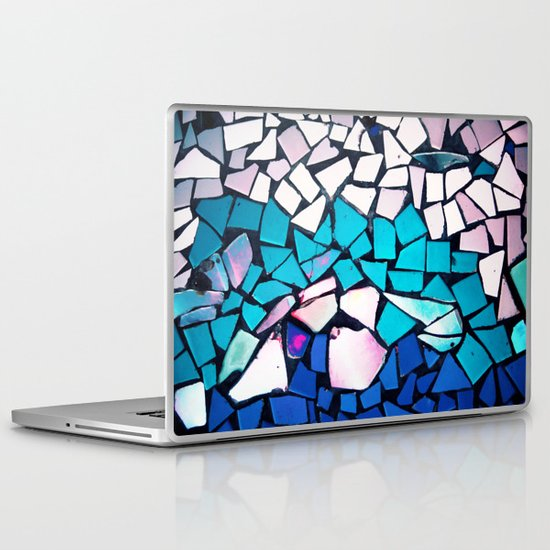 Turquoise and blue mosaic-(photograph) Laptop & iPad Skin