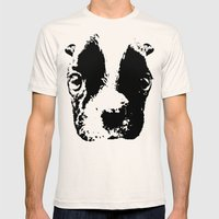 Curious French Bulldog Mens Fitted Tee Natural SMALL