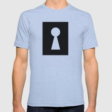 key hole black and white illustration mistery secret Mens Fitted Tee Athletic Blue SMALL