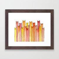 Cats Autumn Colors Patte… Framed Art Print