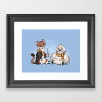 The Owl And The Weasel Framed Art Print