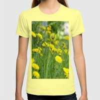 Dandelion field Womens Fitted Tee Lemon SMALL
