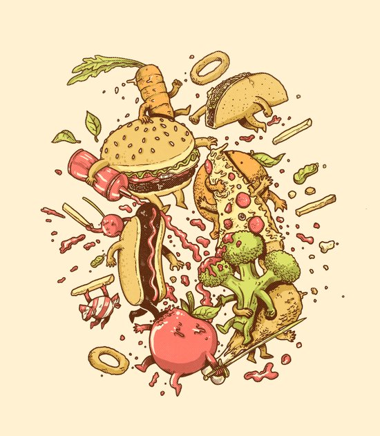 Food Fight Art Print