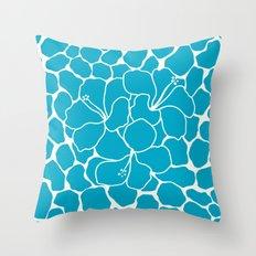 Hibiscus Animal: Caribbean Blue Throw Pillow