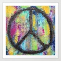 Tie Dye Peace Sign - Col… Art Print