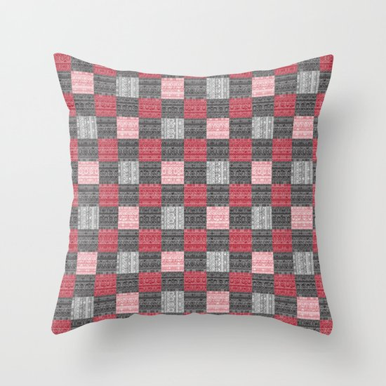 Red, White & Black Pattern Attack Throw Pillow
