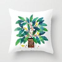 Birds On Coffee Plant Wi… Throw Pillow
