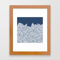Abstract Mountain Navy Framed Art Print