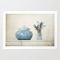 Lavender with Ginger Jar and Jug Art Print