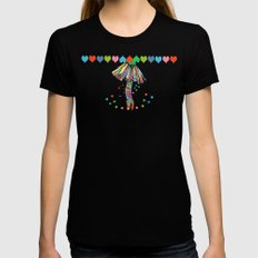LOVE IS A DANCE Womens Fitted Tee Black SMALL