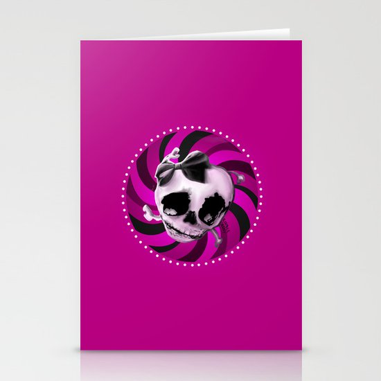 Girly Pink Skull with Black Bow Stationery Card