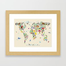 Animal Map of the World Framed Art Print