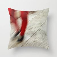 Red Hot Walking Throw Pillow