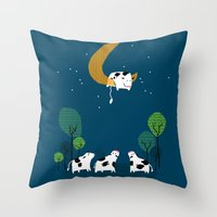A Cow Jump Over The Moon Throw Pillow