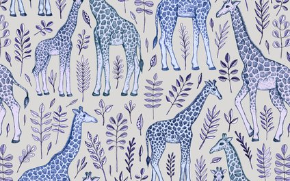 Art Print - Blue Giraffe Pattern - micklyn